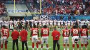 MIAMI, FLORIDA - FEBRUARY 02: The San Francisco 49ers and the Kansas City Chiefs observe a moment of silence to honor former NBA player Kobe Bryant and his daughter, Gianna Bryant, prior to Super Bowl LIV at Hard Rock Stadium on February 02, 2020 in Miami, Florida. (Photo by Ronald Martinez/Getty Images)