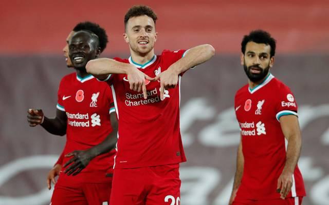 Diogo Jota (Mitte) erzielte wie in der Vorwoche den Siegtreffer