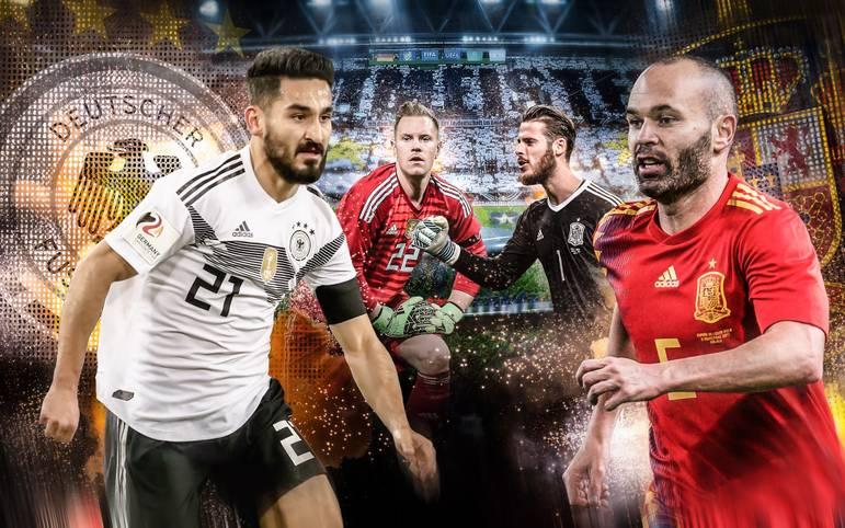 Wenn die deutsche Nationalelf am Freitagabend in Düsseldorf auf Spanien trifft, steht auf beiden Seiten Weltklasse auf dem Platz. Wer hat im Head to Head der letzten beiden Weltmeister die Nase vorn? SPORT1 vergleicht die Teams