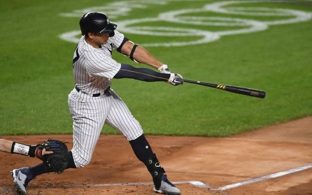 Giancarlo Stanton von den New York Yankees gelang ein Homerun im 4. Inning