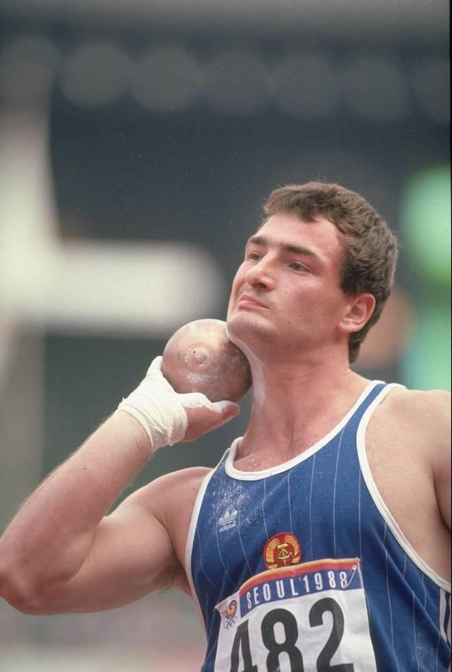 Ulf Timmermann vor seinem Versuch zum Gewinn der Goldmedaille bei den Olympischen Spielen 1988 in Seoul
