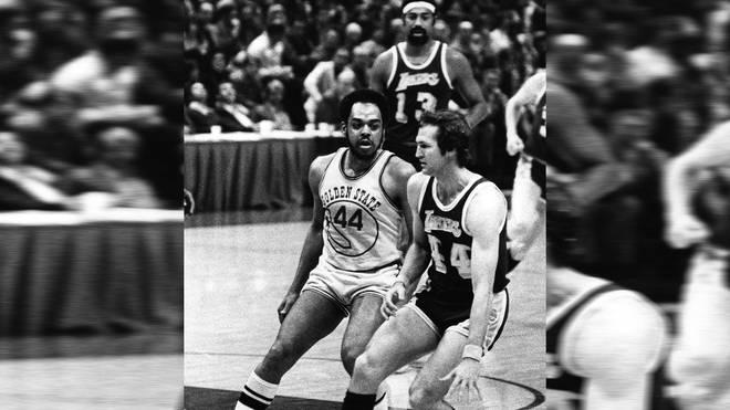 Jerry West (r.) und Wilt Chamberlain (hinten) prägten die Rekordsaison der L.A. Lakers 1972