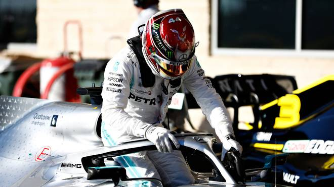AUSTIN, TEXAS - NOVEMBER 02: Fifth place qualifier Lewis Hamilton of Great Britain and Mercedes GP climbs from his car in parc ferme during qualifying for the F1 Grand Prix of USA at Circuit of The Americas on November 02, 2019 in Austin, Texas. (Photo by Will Taylor-Medhurst/Getty Images)