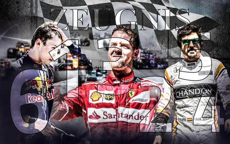Halbzeit in der Formel-1-Saison 2017: Wer hat seine Hausaufgaben gemacht, wer muss nachsitzen? Pünktlich zur Sommerpause vergibt SPORT1 die Zwischenzeugnisse - von der Bestnote bis zur Note 6 ist alles dabei