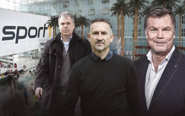 Andreas Rettig (l.) und Achim Beierlorzer (M.) sind im Doppelpass zu Gast