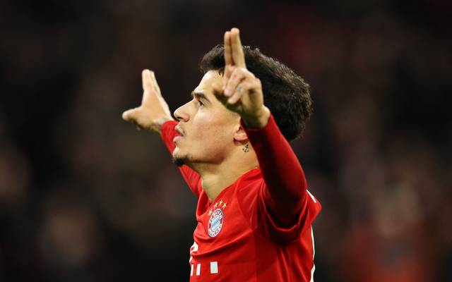 MUNICH, GERMANY - DECEMBER 14: Philippe Coutinho of FC Bayern Muenchen celebrates scoring his sides third goal during the Bundesliga match between FC Bayern Muenchen and SV Werder Bremen at Allianz Arena on December 14, 2019 in Munich, Germany. (Photo by Alexander Hassenstein/Bongarts/Getty Images)