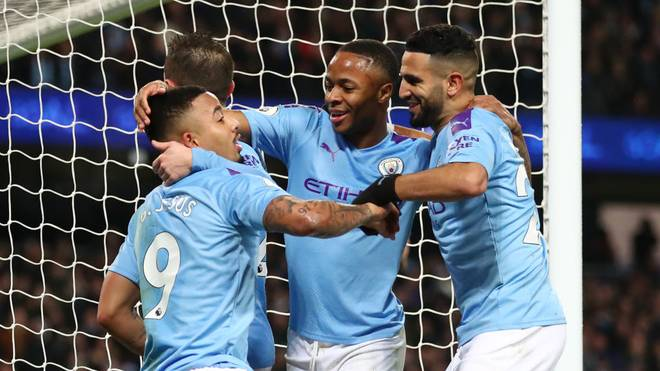 MANCHESTER, ENGLAND - DECEMBER 21: Gabriel Jesus of Manchester City celebrates with teammates after scoring his team's third goal during the Premier League match between Manchester City and Leicester City at Etihad Stadium on December 21, 2019 in Manchester, United Kingdom. (Photo by Clive Brunskill/Getty Images)