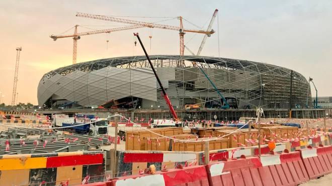 Das Education City Stadium in Doha während der Bauarbeiten