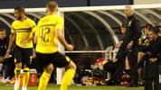 Für den BVB um Chefcoachc Lucien Favre (r.) geht es gegen Liverpool und Jürgen Klopp