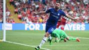 ISTANBUL, TURKEY - AUGUST 14: Olivier Giroud of Chelsea celebrates after scoring his team's first goal during the UEFA Super Cup match between Liverpool and Chelsea at Vodafone Park on August 14, 2019 in Istanbul, Turkey. (Photo by Michael Regan/Getty Images)