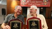 Don Larsen, (R) a former member of the St. Louis Brown s and the only person to throw a perfect game in a World Series, and Sonny Siebert, a former Major League pitcher from 1964 to 1975, who finished with a record of 140-114, share a laugh after their induction ceremonies into the St. Louis Sports Hall of Fame in St. Louis on September 26, 2017. PUBLICATIONxINxGERxSUIxAUTxHUNxONLY SLP2017092602 BILLxGREENBLATT