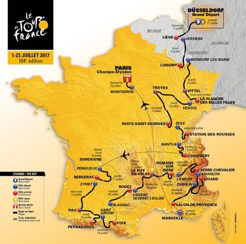 Das Geheimnis ist gelüftet, der Etappenplan für die Tour de France 2017 steht. Alle fünf Gebirge Frankreichs werden befahren, das gab es zuletzt vor 25 Jahren. SPORT1 wirft einen Blick auf die wichtigsten Etappen und Anstiege