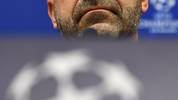 Bayer Leverkusen's Dutch coach Peter Bosz holds a press conference at Moscow's RZD Arena on November 25, 2019 on the eve of the UEFA Champions League group D football match between FC Lokomotiv Moscow and Bayer Leverkusen. (Photo by Dimitar DILKOFF / AFP) (Photo by DIMITAR DILKOFF/AFP via Getty Images)