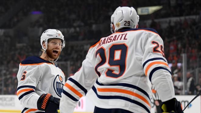 Leon Draisaitl (r.) brachte die Oilers auf Siegkurs