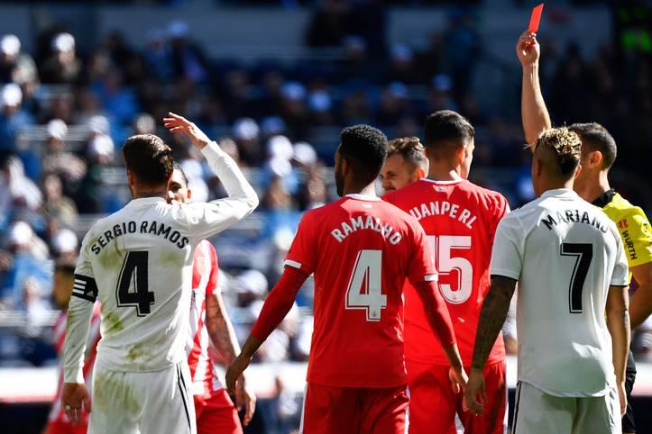 Sergio Ramos wurde gegen den FC Girona zum insgesamt 20. Mal in der spanischen Liga des Feldes verwiesen. Damit stellt das Real-Raubein einen neuen Rekord in Europas Top-5-Ligen auf. Kein Spieler musste jemals so oft frühzeitig duschen