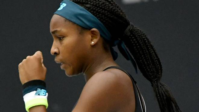 Cori Gauff of US reacts during the WTA-Upper Austria Ladies final tennis match against Jelena Ostapenko of Latvia (unseen) on October 13, 2019 in Linz, Austria. (Photo by BARBARA GINDL / APA / AFP) / Austria OUT (Photo by BARBARA GINDL/APA/AFP via Getty Images)