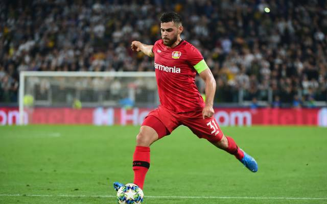 TURIN, ITALY - OCTOBER 01:  Kevin Volland of Bayer Leverkusen in action during the UEFA Champions League group D match between Juventus and Bayer Leverkusen at Juventus Arena on October 1, 2019 in Turin, Italy.  (Photo by Pier Marco Tacca/Getty Images)