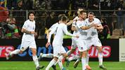 Players of Italian national soccer team, celebrate after scoring against Bosnia and Herzegovina, during EURO2020 qualifier match, in Zenica, on November 15, 2019. (Photo by ELVIS BARUKCIC / AFP) (Photo by ELVIS BARUKCIC/AFP via Getty Images)
