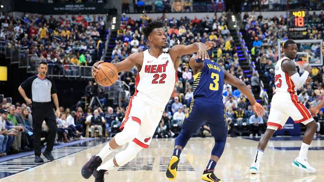 INDIANAPOLIS, INDIANA - JANUARY 08:  Jimmy Butler #22 of the Miami Heat dribbles the ball against the Indiana Pacers at Bankers Life Fieldhouse on January 08, 2020 in Indianapolis, Indiana.    NOTE TO USER: User expressly acknowledges and agrees that, by downloading and or using this photograph, User is consenting to the terms and conditions of the Getty Images License Agreement. (Photo by Andy Lyons/Getty Images)