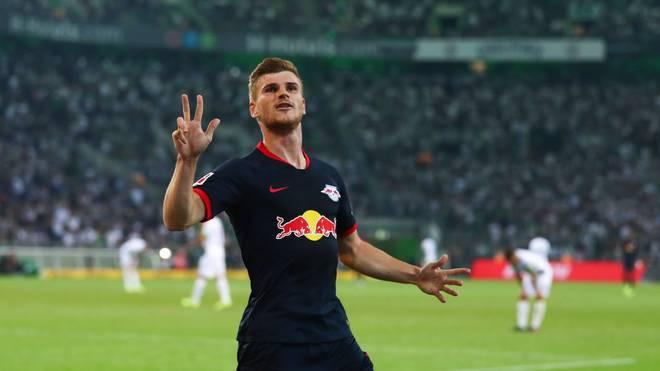 Timo Werner erzielte gegen Borussia Mönchengladbach alle drei Tore von RB Leipzig