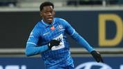 Gent's Jonathan David celebrates after scoring during a soccer match between KAA Gent and RE Mouscron, Saturday 18 January 2020 in Gent, on day 22 of the 'Jupiler Pro League' Belgian soccer championship season 2019-2020. BELGA PHOTO VIRGINIE LEFOUR (Photo by VIRGINIE LEFOUR/BELGA MAG/AFP via Getty Images)