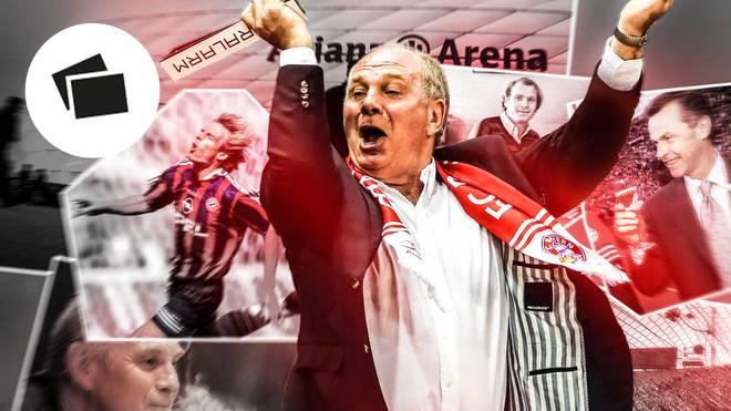 Uli Hoeneß (M.) hatte entscheidenden Anteil an Bayerns Aufstieg zur bedeutenden Marke