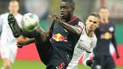 Leipzig's French defender Dayot Upamecano controls the ball during the German Cup (DFB Pokal) round of 16 football match Eintracht Frankfurt v RB Leipzig in Frankfurt am Main, westen Germany on February 4, 2020. (Photo by Daniel ROLAND / AFP) / DFB REGULATIONS PROHIBIT ANY USE OF PHOTOGRAPHS AS IMAGE SEQUENCES AND QUASI-VIDEO. (Photo by DANIEL ROLAND/AFP via Getty Images)