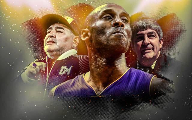 Um Kobe Bryant (M.) und Diego Maradona (l.) wurde weltweit getrauert