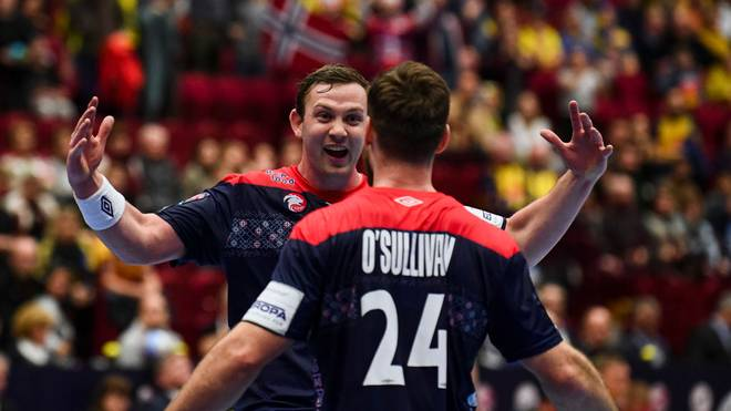 Norway's Sander Sagosen (L) and Norway's Chirstian O'sullivan celebrate their victory after the Men's European Handball Championship, main round match between Norway and Sweden in Malmo, Sweden on January 19, 2020. (Photo by Jonathan NACKSTRAND / AFP) (Photo by JONATHAN NACKSTRAND/AFP via Getty Images)