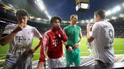 FRANKFURT AM MAIN, GERMANY - NOVEMBER 02: Benjamin Pavard, Serge Gnabry, Manuel Neuer and Robert Lewandowski (L-R) of Muenchen react after the Bundesliga match between Eintracht Frankfurt and FC Bayern Muenchen at Commerzbank-Arena on November 02, 2019 in Frankfurt am Main, Germany. (Photo by Alex Grimm/Bongarts/Getty Images)