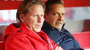 COLOGNE, GERMANY - NOVEMBER 30: Markus Gisdol, Head Coach of 1. FC Koeln and Horst Heldt, Sporting Director of 1. FC Koeln look on prior to the Bundesliga match between 1. FC Koeln and FC Augsburg at RheinEnergieStadion on November 30, 2019 in Cologne, Germany. (Photo by Lars Baron/Bongarts/Getty Images)