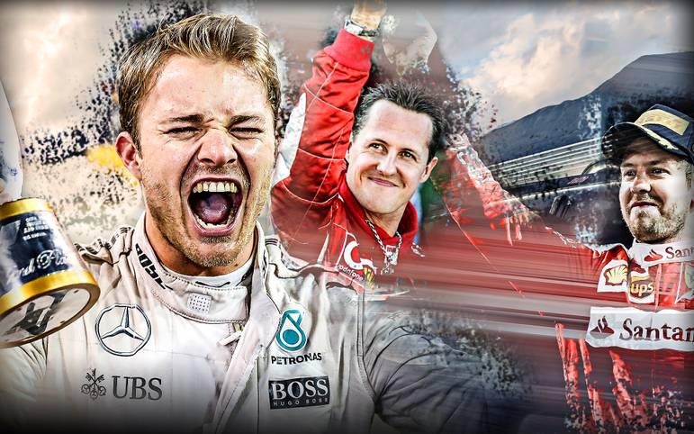 Werdegang, Triumphe und Leidenschaften: Wie ticken die drei deutschen Formel-1-Weltmeister Michael Schumacher, Sebastian Vettel und Nico Rosberg? Der große SPORT1-Vergleich