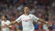 Sevilla's Mexican forward Chicharito celebrates after scoring a goal during the Spanish league football match between Sevilla FC and Getafe CF at the Ramon Sanchez Pizjuan stadium in Seville on October 27, 2019. (Photo by CRISTINA QUICLER / AFP) (Photo by CRISTINA QUICLER/AFP via Getty Images)