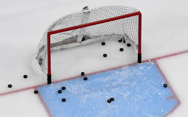 LAS VEGAS, NEVADA - MARCH 01:  Pucks are shown in and around a net during warmups before a game between the Los Angeles Kings and the Vegas Golden Knights at T-Mobile Arena on March 1, 2020 in Las Vegas, Nevada.  (Photo by Ethan Miller/Getty Images)