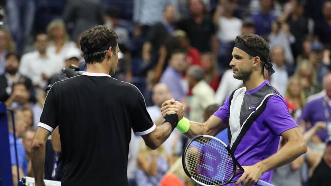 Grigor Dimitrov (r.) warf Roger Federer bei den US Open raus