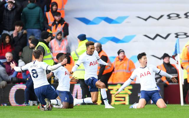 BIRMINGHAM, ENGLAND - FEBRUARY 16: Heung-Min Son of Tottenham Hotspur celebrates with team mates after scoring his sides third goal during the Premier League match between Aston Villa and Tottenham Hotspur at Villa Park on February 16, 2020 in Birmingham, United Kingdom. (Photo by Laurence Griffiths/Getty Images)