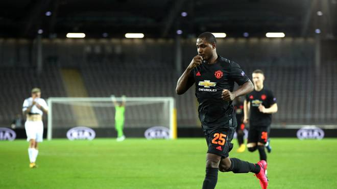 LINZ, AUSTRIA - MARCH 12: (FREE FOR EDITORIAL USE) In this handout image provided by UEFA, Odion Ighalo of Manchester United celebrates after scoring his team's first goal during the UEFA Europa League round of 16 first leg match between LASK and Manchester United at Linzer Stadion on March 12, 2020 in Linz, Austria. The match is played behind closed doors as a precaution against the spread of COVID-19 (Coronavirus).  (Photo by UEFA - Handout/UEFA via Getty Images )