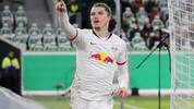 WOLFSBURG, GERMANY - OCTOBER 30: Marcel Sabitzer of RB Leipzig celebrates after scoring his team's second goal during the DFB Cup second round match between VfL Wolfsburg and RB Leipzig at Volkswagen Arena on October 30, 2019 in Wolfsburg, Germany. (Photo by Boris Streubel/Bongarts/Getty Images)