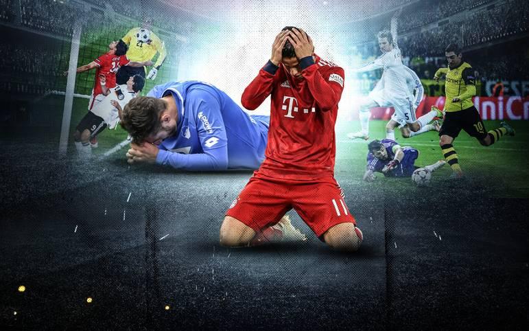 Am 4. Spieltag der Bundesliga kam es zu zwei unglaublichen Fehlschüssen vor dem leeren Tor: Sowohl Bayerns James als auch Hoffenheims Belfodil brachten den Ball nicht über die Linie.  SPORT1 zeigt historische Fehlschüsse - wie den vom früheren Dortmunder Frank Mill