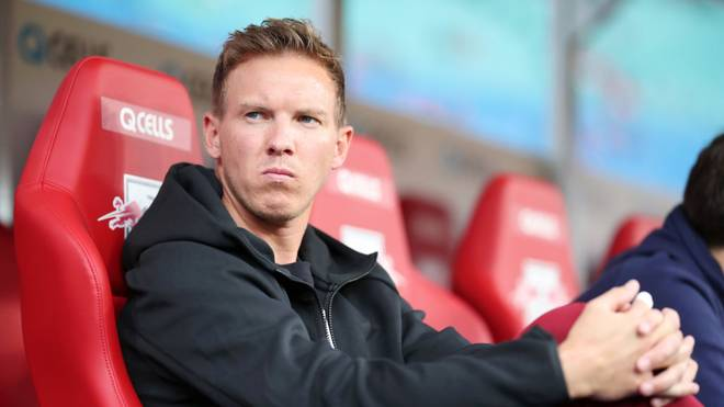 LEIPZIG, GERMANY - SEPTEMBER 28: Julian Nagelsmann, Head Coach of RB Leipzig is seen prior to the Bundesliga match between RB Leipzig and FC Schalke 04 at Red Bull Arena on September 28, 2019 in Leipzig, Germany. (Photo by Boris Streubel/Bongarts/Getty Images)