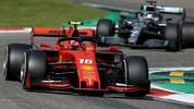 MONZA, ITALY - SEPTEMBER 08: Charles Leclerc of Monaco driving the (16) Scuderia Ferrari SF90 leads Lewis Hamilton of Great Britain driving the (44) Mercedes AMG Petronas F1 Team Mercedes W10 on track during the F1 Grand Prix of Italy at Autodromo di Monza on September 08, 2019 in Monza, Italy. (Photo by Charles Coates/Getty Images)