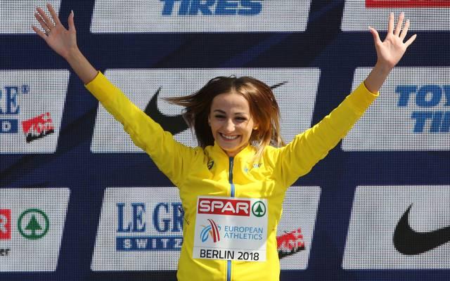 Natalja Krol bei ihrem Triumph 2018 in Berlin