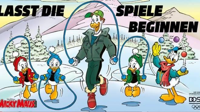 """Mit einem sechsseitigen Comic im Magazin """"Micky Maus"""" propagiert der DOSB einen sportlichen Lebenswandel."""
