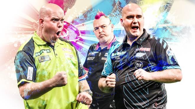 Michael van Gerwen, Peter Wright und Rob Cross (v.l.) gehören zu den Topstars der Darts-Szene
