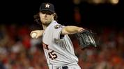 WASHINGTON, DC - OCTOBER 27:  Gerrit Cole #45 of the Houston Astros delivers the pitch against the Washington Nationals during the sixth inning in Game Five of the 2019 World Series at Nationals Park on October 27, 2019 in Washington, DC. (Photo by Patrick Smith/Getty Images)