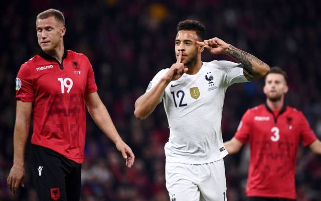 France's midfielder Corentin Tolisso (C) celebrates after scoring a goal during the Euro 2020 Group H football qualification match between Albania and France at the Air Albania Stadium in Tirana, on November 17, 2019. (Photo by FRANCK FIFE / AFP) (Photo by FRANCK FIFE/AFP via Getty Images)