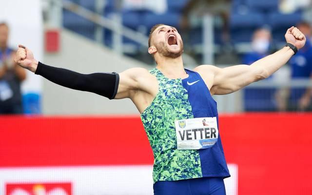 Johannes Vetter bei seinem deutschen Rekord in Chorzow
