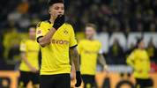 Dortmund's English midfielder Jadon Sancho reacts during the German first division Bundesliga football match Borussia Dortmund v SC Paderborn in Dortmund, western Germany, on November 22, 2019. (Photo by INA FASSBENDER / AFP) / RESTRICTIONS: DFL REGULATIONS PROHIBIT ANY USE OF PHOTOGRAPHS AS IMAGE SEQUENCES AND/OR QUASI-VIDEO (Photo by INA FASSBENDER/AFP via Getty Images)