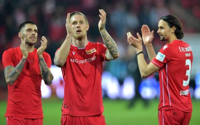 Sebastian Polter (Mitte) kündigt seinen Abschied vom 1. FC Union Berlin an