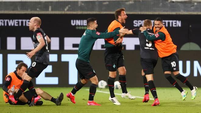 Die Bremer Spieler wurden nach dem Spiel mit Bier übergossen